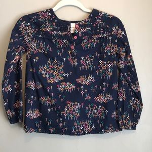 Hanna Andersson Girls Smocked Floral Navy Top